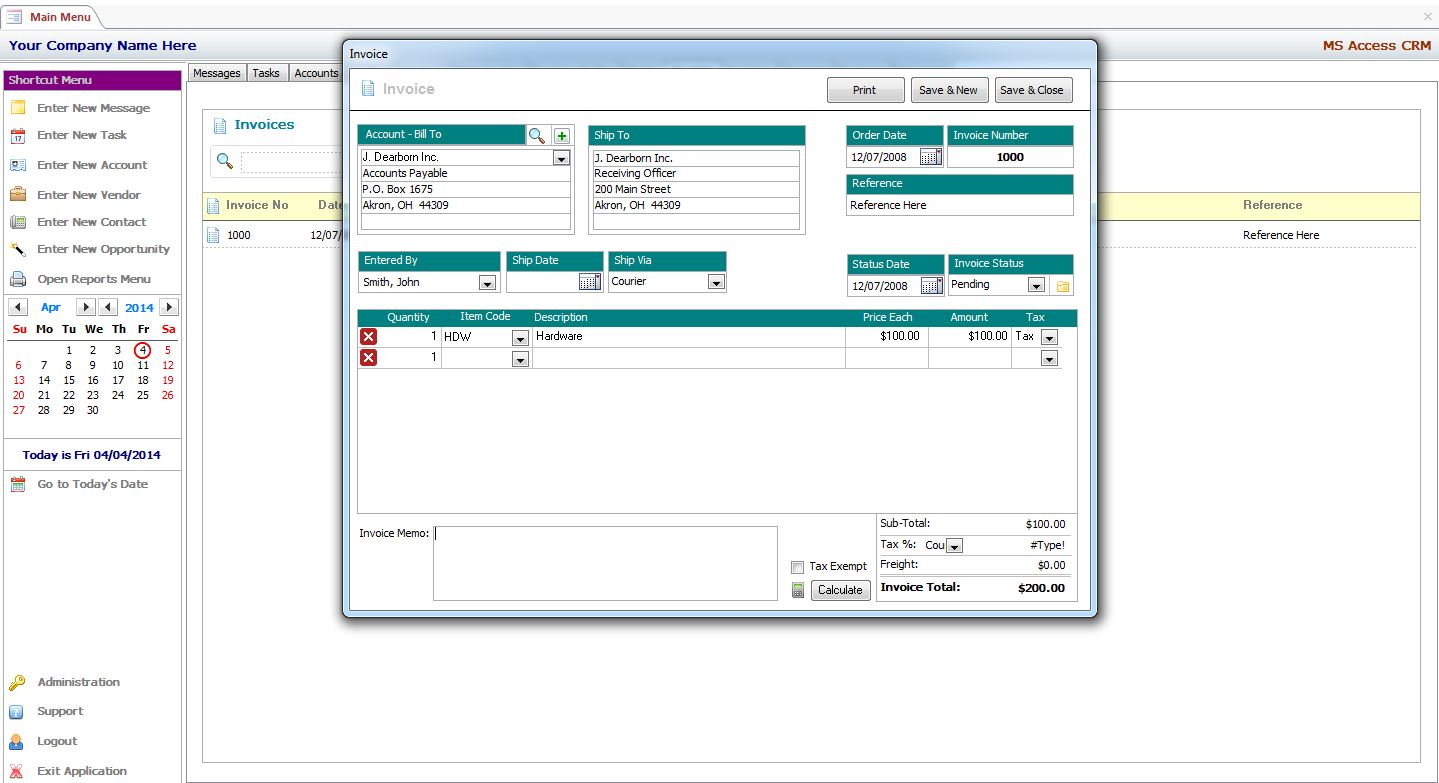 Microsoft Access CRM Template | MS Access Template | MS Access CRM ...